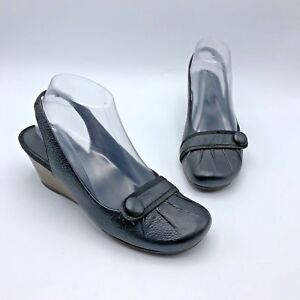 Bare-Traps-Danielle-Women-Black-Leather-Slingback-Wedge-Shoe-Size-6-5M-Pre-Owned
