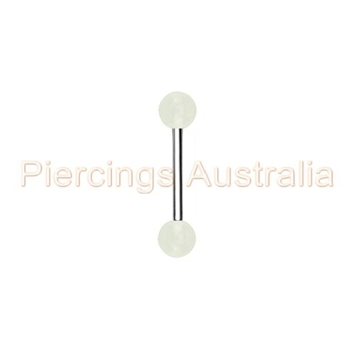Glow In The Dark Ball Tongue Bar Ring Barbell Piercing Stud CHOOSE LENGTH COLOUR