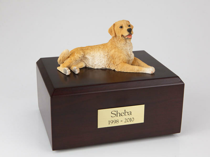 oroen Retriever Laying Pet Cremation Urn Available in 3 Diff Colores & 4 Dimensiones