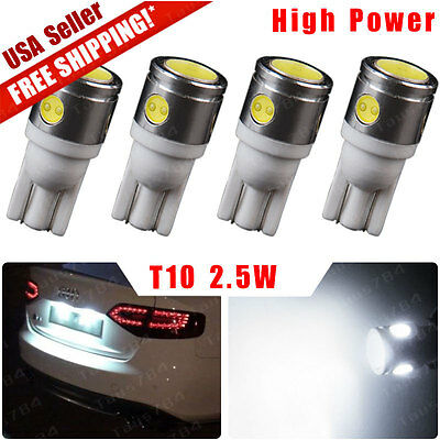 4X White T10 Side Wedge LED High Power 2.5W License Plate Interior Light 168 194