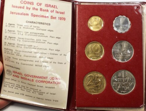 1970 Coins of Israel 6 Piece Specimen Set Uncirculated Jerusalem OGP COA