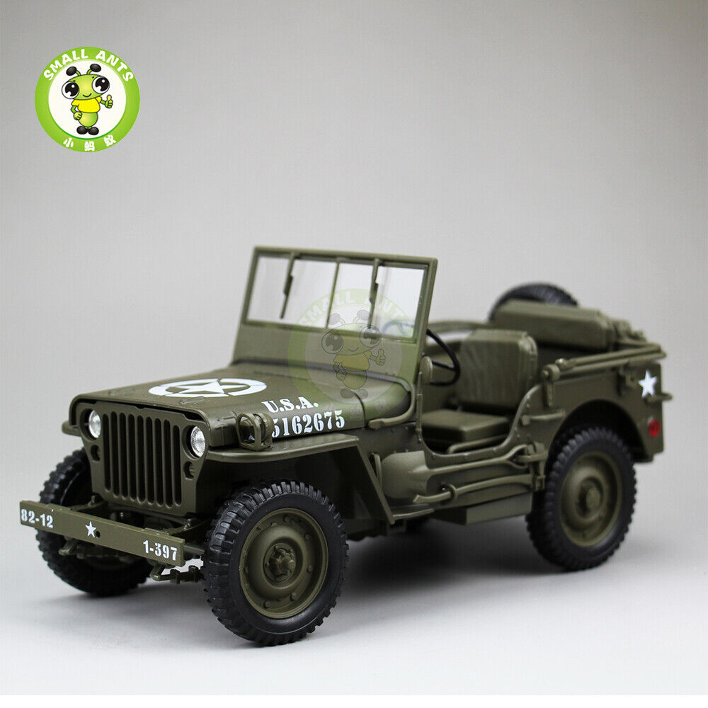 1 18 1 4 Ton US ARMY WILLYS JEEP TOP DOWN Welly Diecast Car Model Army GREEN