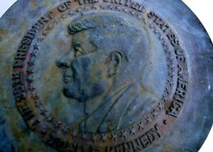 "John F. Kennedy brass plate 35th President JFK vintage Americana USA 12"" wall"
