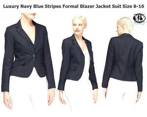 746492286fd WOMEN PLUS SIZE 8-16 NAVY BLUE STRIPES FORMAL BLAZER TOP WORK SUIT ...