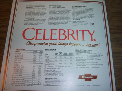 1982 CHEVROLET CELEBRITY SALES BROCHURE  ORIGINAL NOT REPRINT