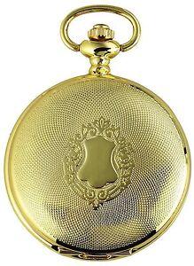Taschenuhr-Weiss-Gold-Wappen-Metall-Analog-Quarz-Herrenuhr-D-480302000050500