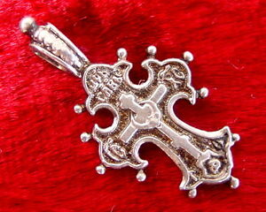 Old Russian Small Cross Sterling Silver, Jesus Christ, Orthodox, Russia