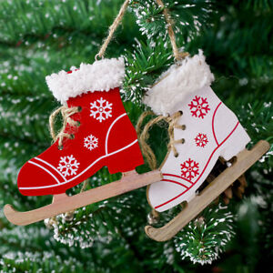 New Arrival Snowflake Pattern Wooden Sleds Boots Christmas Xmas Tree Hanging Pendant Diamond