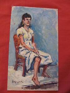 Excelente-oleo-expresionista-por-Angel-Garcia-Lapuyade-034-mujer-en-el-asiento-034