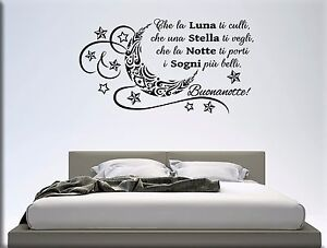 Adesivi murali frase buonanotte decorazioni da parete letto wall stickers ws1335 ebay - Scritte sulle pareti di casa ...