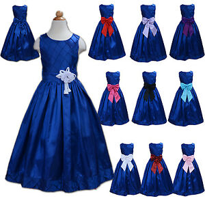 67f6480cc New Blue Flower Girl Party Bridesmaid Pageant Dress 2-13 Years Sash ...