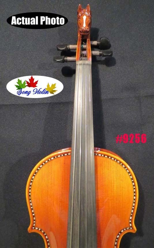 Strad style SONG Brand Maestro inlayed Carved scroll violin 4 4