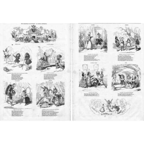 2x Antique Prints 1842 CHRISTMAS PANTOMIMES at London Theatres