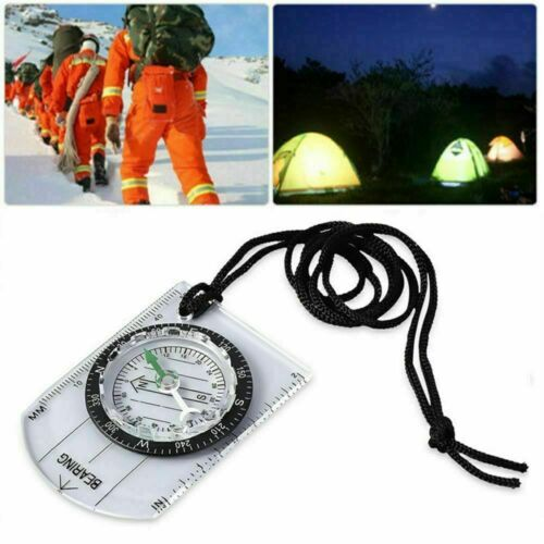 Outdoor Camping Hiking Military Compass Map Scale Ruler Baseplate Mini Compass
