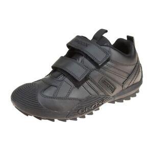 Geox-Savage-Jungen-Schwarz-Trainer-Schule-Schuh-Jungen-Schule-Schuhe