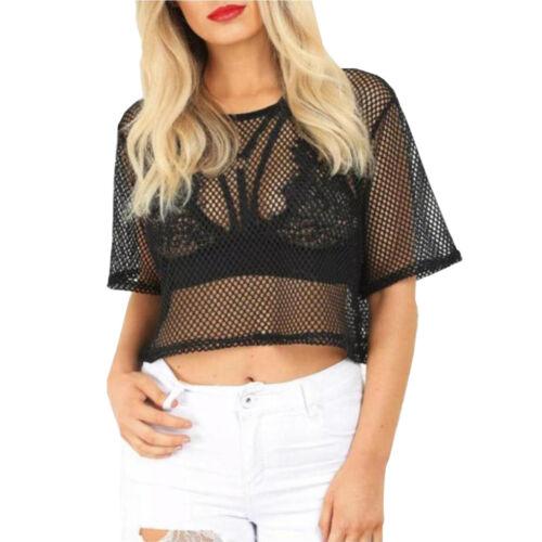 Femme Surdimensionné Baggy résille Crop Top Femme manches courtes See Through t-shirt