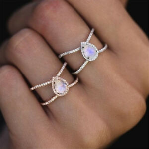 Exquisite14K-Gold-Teardrop-Moonstone-Double-Band-Wedding-Ring-Jewelry-Size-5-10