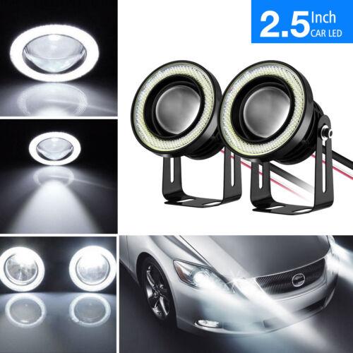 "2pcs 2.5/"" Car Projector LED Fog Light COB Halo Angel Eye Ring Driving Bulb Lamp"