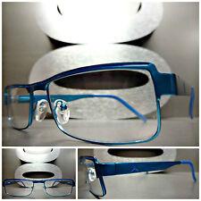 Men's Women CONTEMPORARY MODERN Style Clear Lens EYE GLASSES Blue Fashion Frame