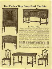 1937 PAPER AD Early English Dining Room Wolsey Suite Henry VIII Tudor Tiger Wood