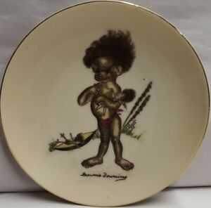 Vintage-Brownie-Downing-Picaninny-Ceramic-Wall-Plate-c1950s-15-5cm-Wide