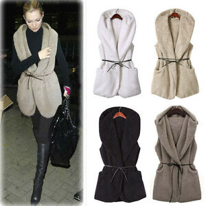 Womens Winter Hooded Faux Fur Sleeveless Outerwear Jacket ...