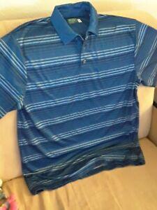 Ben-Hogan-Performance-Golf-Polo-Mens-Shirt-Large-Blue-Striped-Short-Sleeve