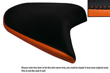 BLACK & ORANGE CUSTOM FITS KTM 690 DUKE 12-15 REAR LEATHER SEAT COVER
