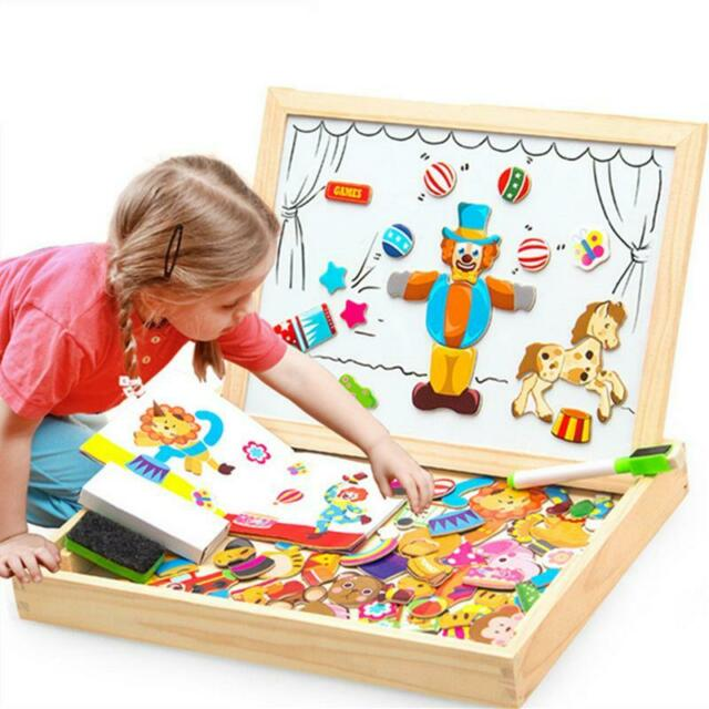 100 Pieces Wooden Magnetic Puzzle + Drawing Board - 5 styles Box Educational Toy
