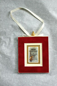 Smokey-The-Bear-Hand-Crafted-Velvet-Framed-USA-Stamp-Christmas-Tree-Ornament