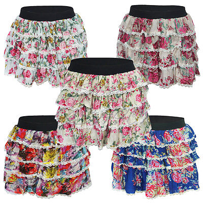 Ladies Womens Girls Floral Tutu Dance Hen Party Short Mini Elasticated Skirt Schnelle WäRmeableitung