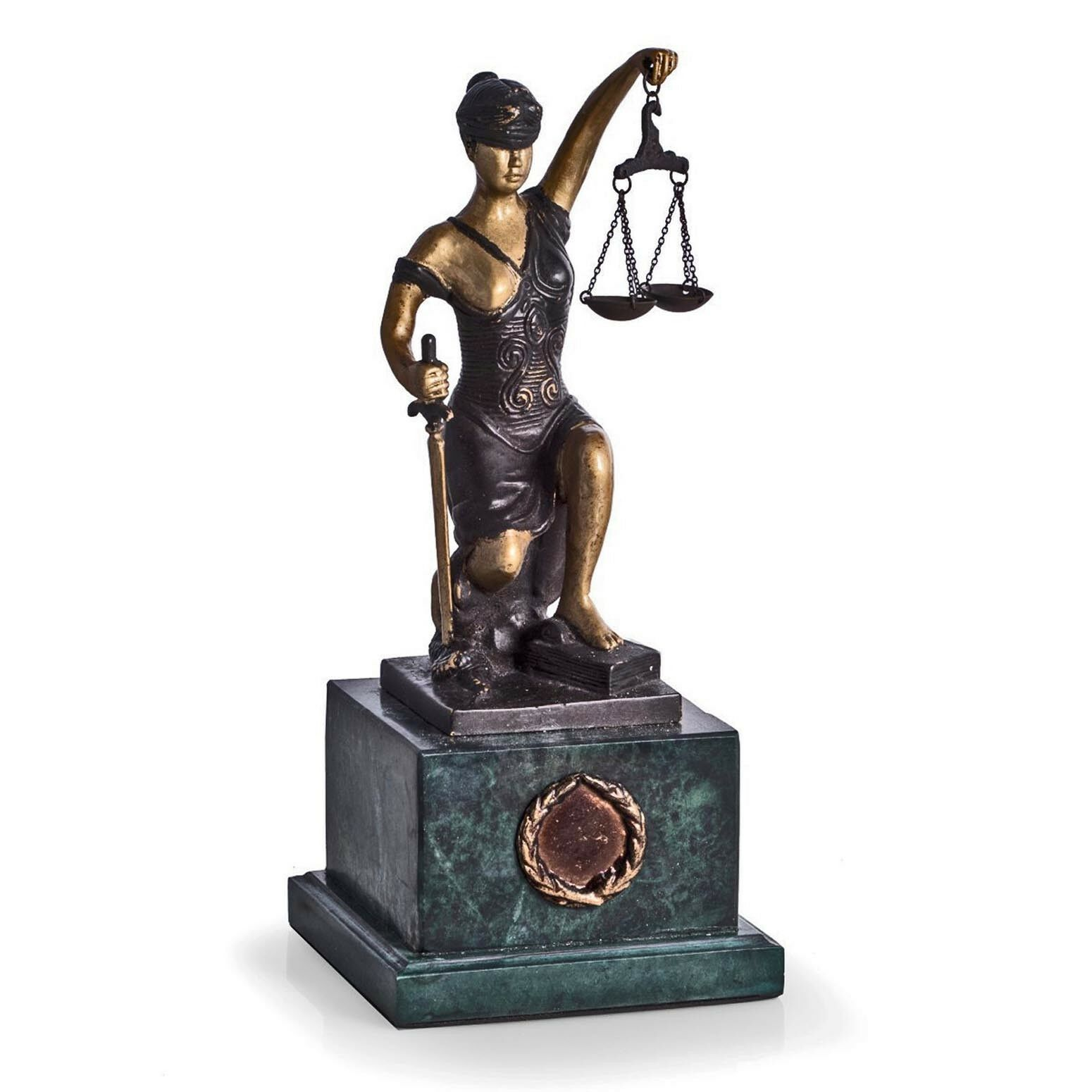 FIGURINES - KNEELING LADY JUSTICE SCULPTURE - MARBLE BASE - LAWYERS & LEGAL
