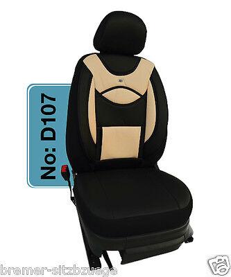 Skoda Roomster MAß Schonbezüge Sitzbezug Sitzbezüge 1+1 D107 Schwarz-Beige