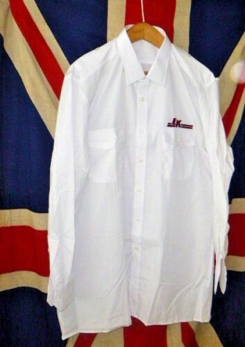 """vintage East Kent Buses white bus driver shirt still folded and new 17/"""" collar"""