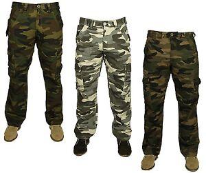 Para Hombres Pantalones Cargo Combate Trabajo Camuflaje Camo Ejercito Militar Pantalones Informales Jeans Ebay