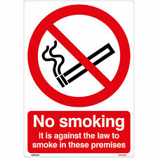 No Smoking It is against the law to smoke in these premises A5 Sign Sticker