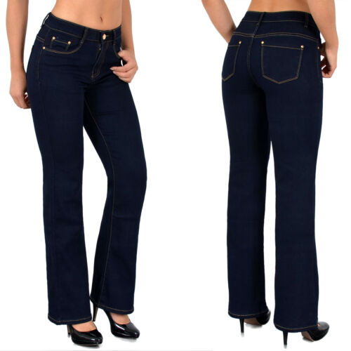 Damenjeans High Waist Jeans Hose Bootcut Schlaghose Jeanshose Hochbundhose J111