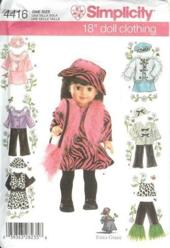 Simplicity Sewing Pattern 4416  Doll Clothes for 18 inch Doll