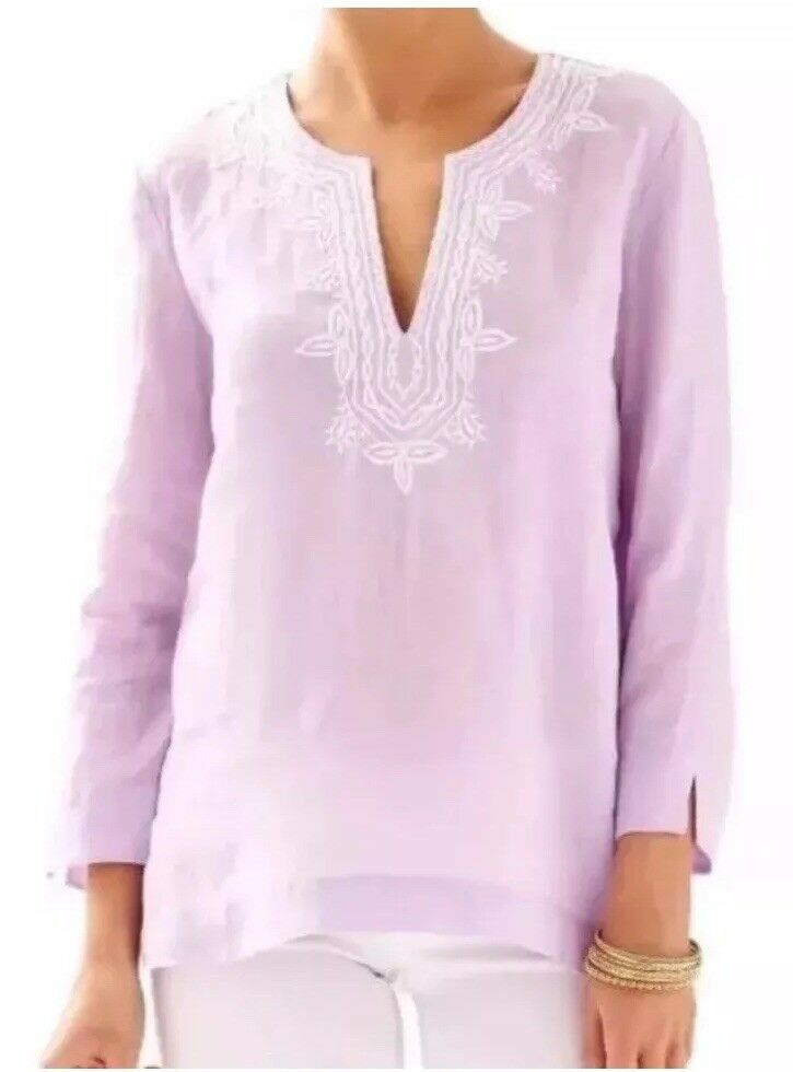 Lilly Pulitzer Amelia Island Iced purplec Embroidered Tunic Sz Extra Small GUC