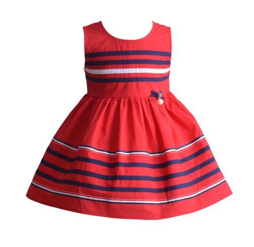 BABY sans manches à rayures été robe de soirée en bleu rouge blanc 3 6 9 12 18 mois
