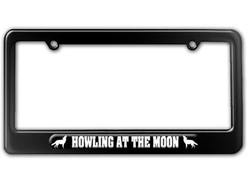 Wolf Howling At The Moon License Plate Tag Frame