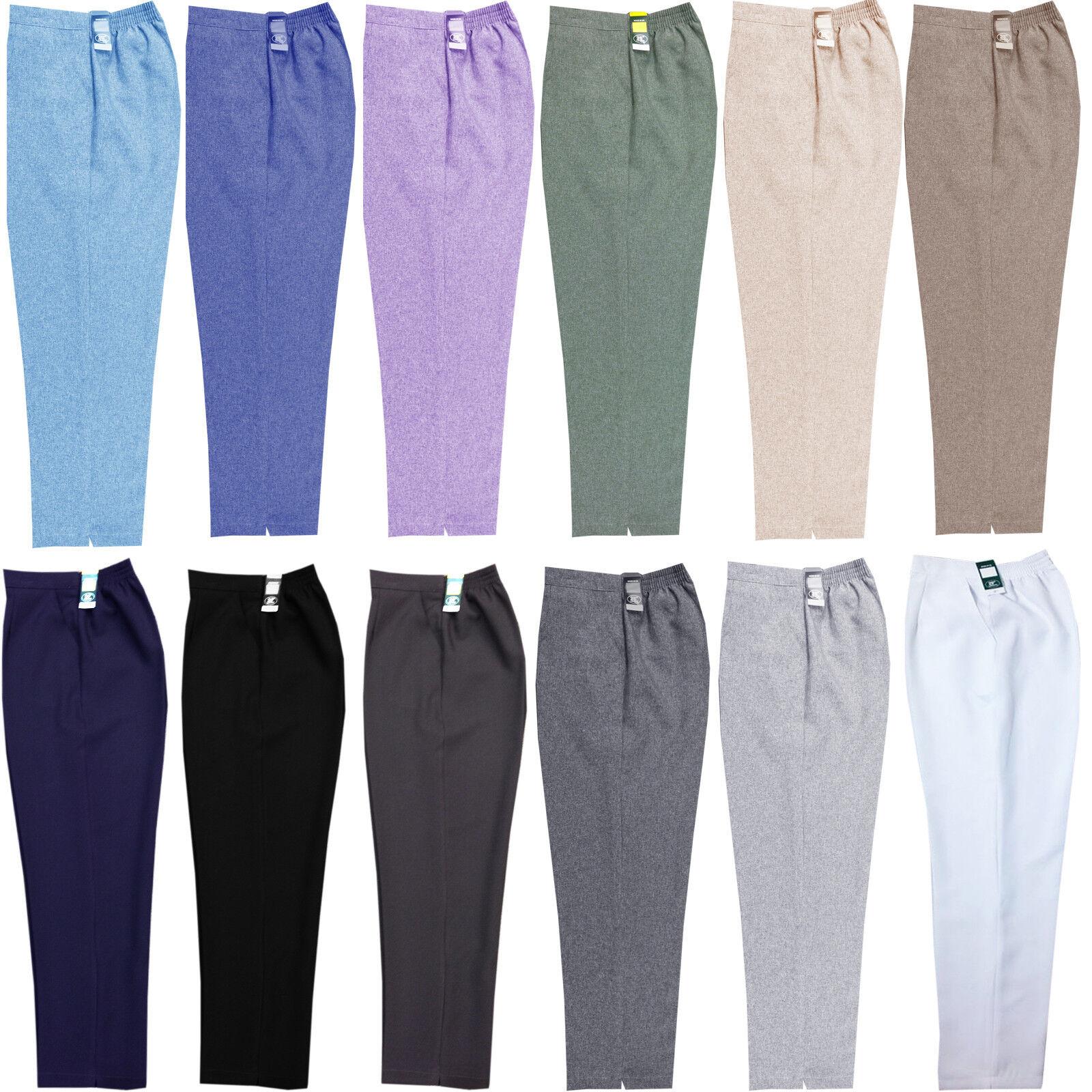 Ladies Womens Work Trousers Half Elasticated Stretch Waist Pull Up Work Pants