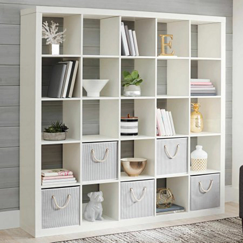Large 25 Cube Bookcase Bookshelf Storage Shelves Organizer Room Divider White
