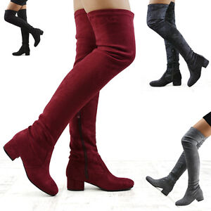 Womens-Thigh-High-Chunky-Low-Heel-Ladies-Zip-Stretch-Casual-Over-The-Knee-Boots