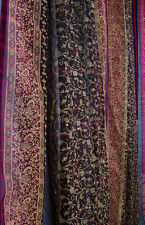 SALE - Eggplant PURPLE Full Length Indian Sari, Sheer Window Canopy Scarf 190""