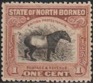 NORTH-BORNEO-1925-1c-MALAYAN-TAPIR-MH