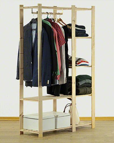 B-25* Kleiderschrank Garderobe für Kleidung Holzregal Regal Kiefer 170x110x38