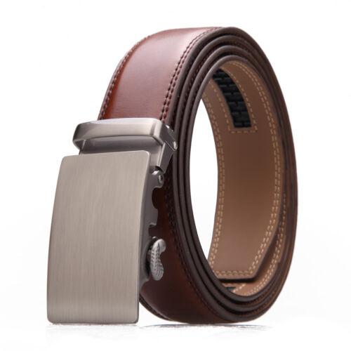 Männer braun Leder Ratsche Gürtel Elegante automatische Schnalle Taille Gurt