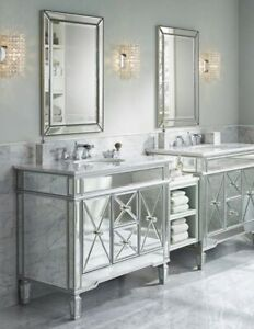 Elegant Glam Mirrored Single Sink Bathroom Vanity Carrara Marble Top 40 Wide Ebay