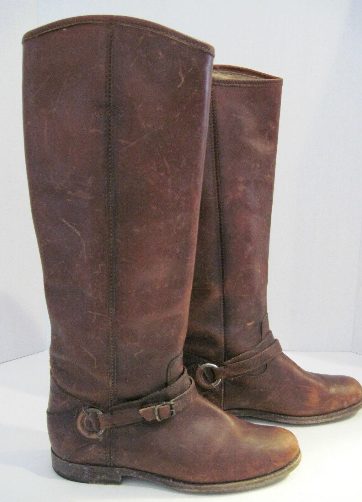 Empresa Frye angustiado marrón Cuero Hebilla arnés Caballo botas B